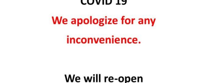 COVID 19 Door Notice